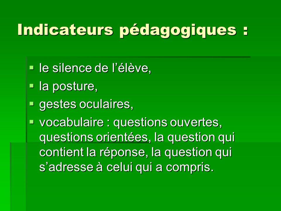 Indicateurs pédagogiques : le silence de lélève, le silence de lélève, la posture, la posture, gestes oculaires, gestes oculaires, vocabulaire : quest
