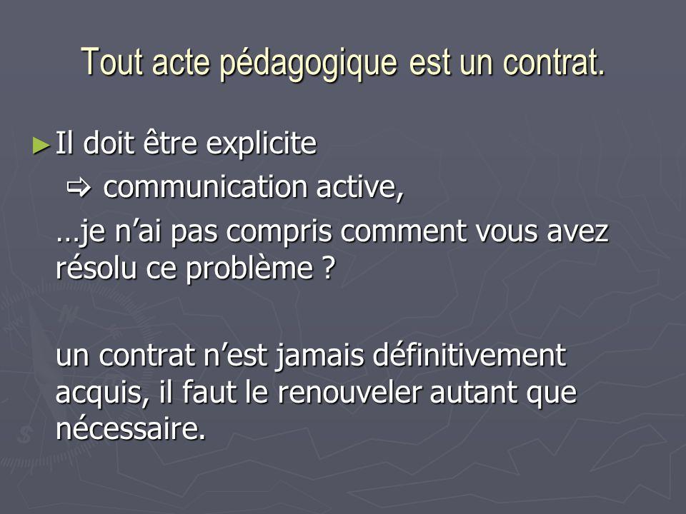 Tout acte pédagogique est un contrat. Il doit être explicite Il doit être explicite communication active, communication active, …je nai pas compris co