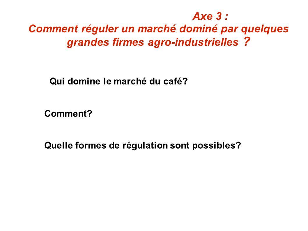 Axe 3 : Comment réguler un marché dominé par quelques grandes firmes agro-industrielles ? Qui domine le marché du café? Comment? Quelle formes de régu