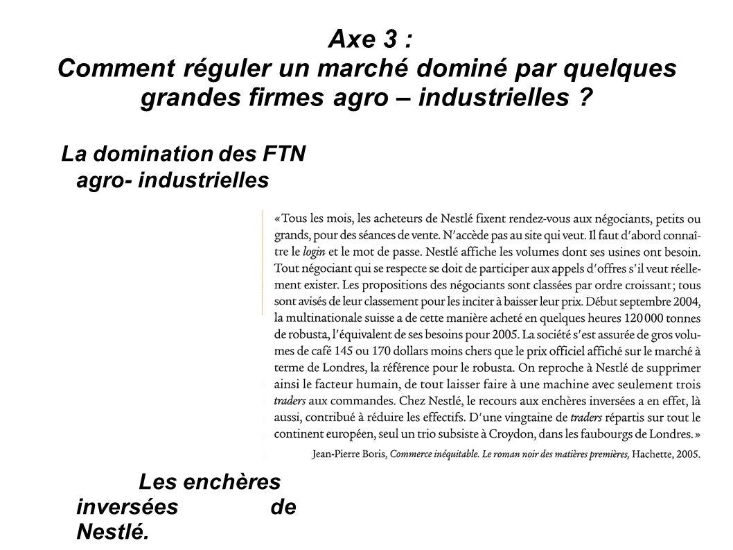 Axe 3 : Comment réguler un marché dominé par quelques grandes firmes agro – industrielles ? La domination des FTN agro- industrielles Les enchères inv