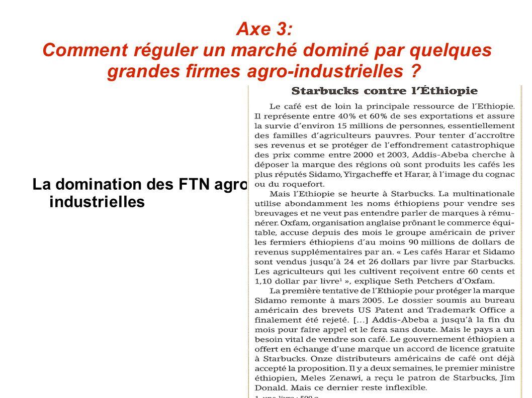 Axe 3: Comment réguler un marché dominé par quelques grandes firmes agro-industrielles ? La domination des FTN agro- industrielles
