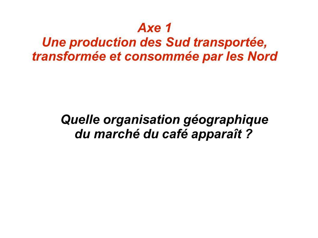 Axe 1 Une production des Sud transportée, transformée et consommée par les Nord Quelle organisation géographique du marché du café apparaît ?