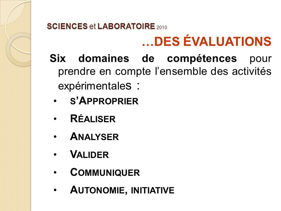 SCIENCES et LABORATOIRE 2010 …DES ÉVALUATIONS Six domaines de compétences pour prendre en compte lensemble des activités expérimentale s : S A PPROPRI