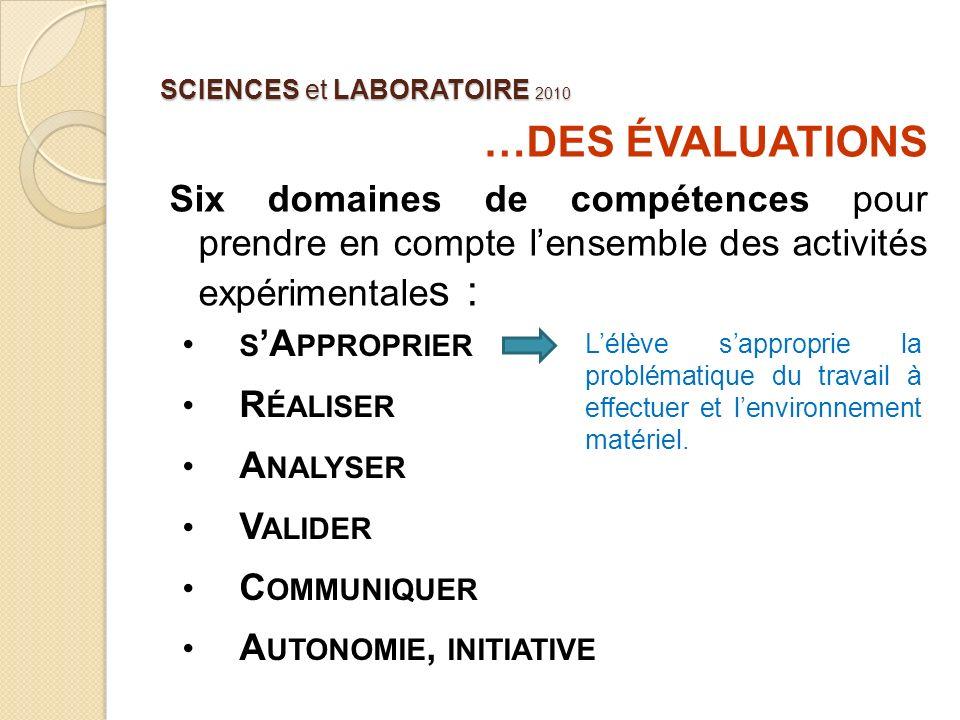 SCIENCES et LABORATOIRE 2010 …DES ÉVALUATIONS Six domaines de compétences pour prendre en compte lensemble des activités expérimentale s : Lélève sapp