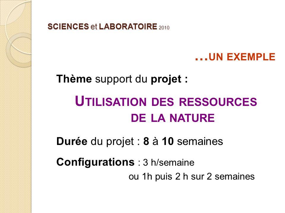SCIENCES et LABORATOIRE 2010 … UN EXEMPLE Thème support du projet : U TILISATION DES RESSOURCES DE LA NATURE Durée du projet : 8 à 10 semaines Configu