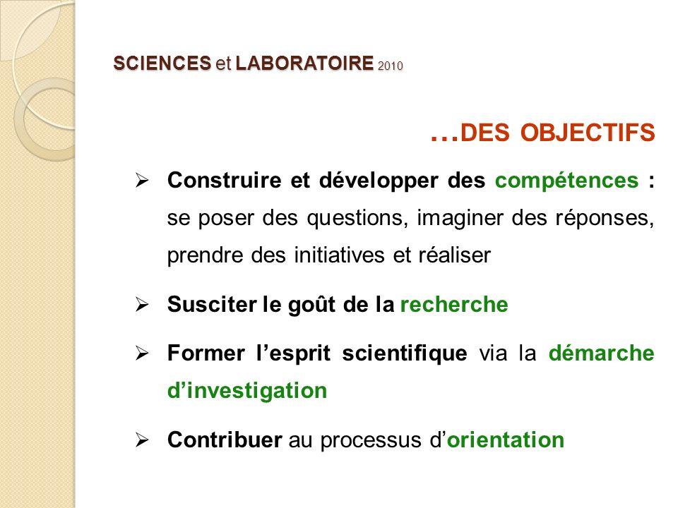 SCIENCES et LABORATOIRE 2010 … DES OBJECTIFS Construire et développer des compétences : se poser des questions, imaginer des réponses, prendre des ini