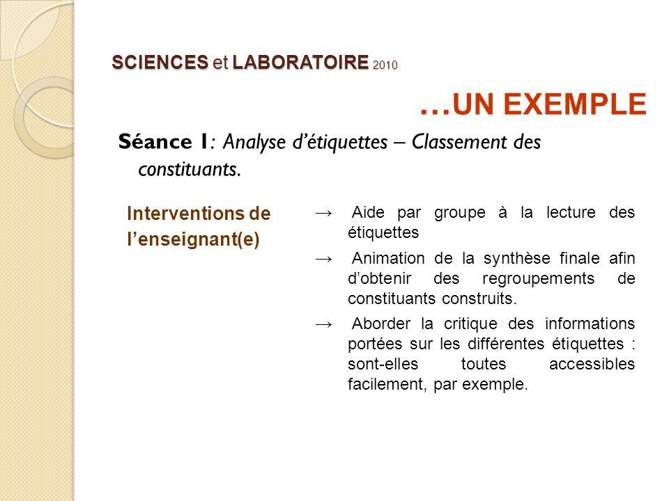 SCIENCES et LABORATOIRE 2010 … UN EXEMPLE Séance 1: Analyse détiquettes – Classement des constituants. Interventions de lenseignant(e) Aide par groupe