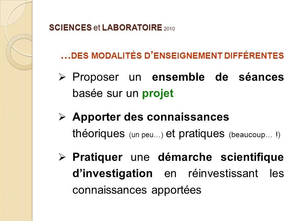 SCIENCES et LABORATOIRE 2010 … DES MODALITÉS D ENSEIGNEMENT DIFFÉRENTES Proposer un ensemble de séances basée sur un projet Apporter des connaissances