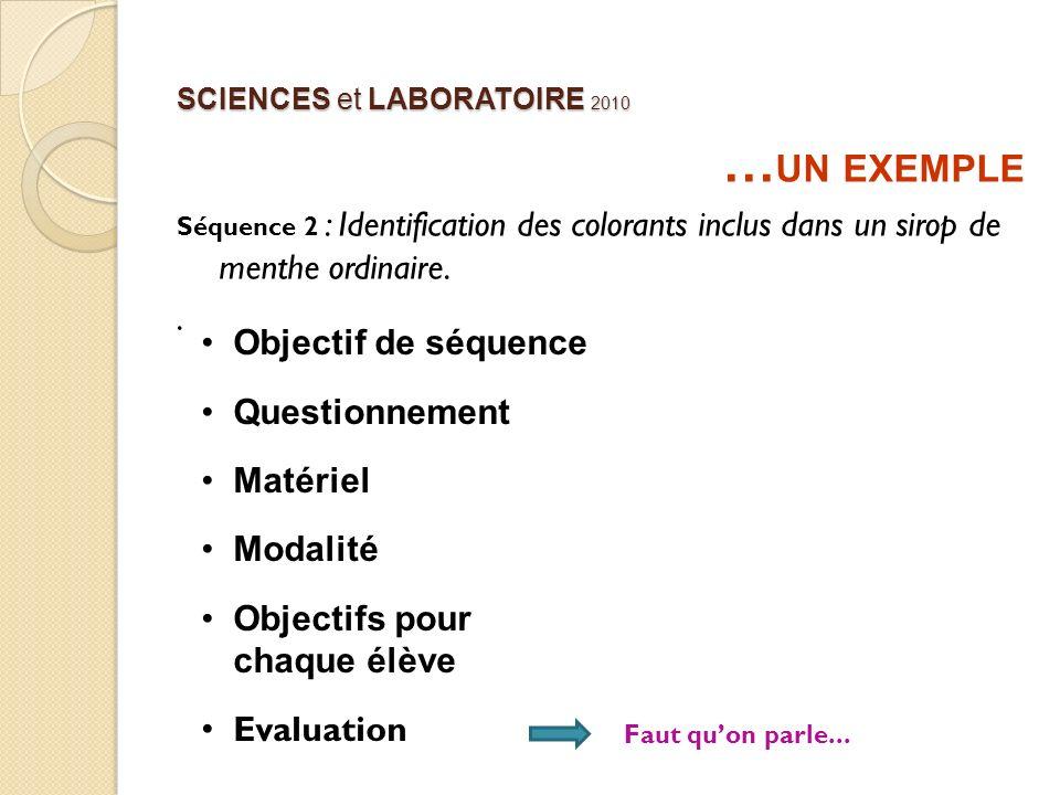 SCIENCES et LABORATOIRE 2010 … UN EXEMPLE Séquence 2 : Identification des colorants inclus dans un sirop de menthe ordinaire.. Objectif de séquence Qu
