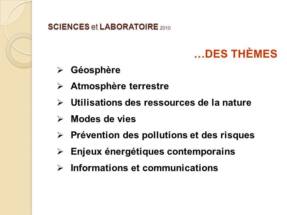 SCIENCES et LABORATOIRE 2010 …DES THÈMES Géosphère Atmosphère terrestre Utilisations des ressources de la nature Modes de vies Prévention des pollutio