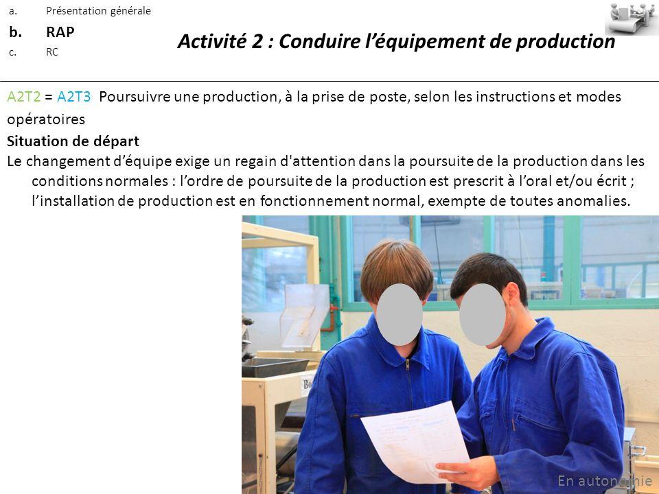 Activité 2 : Conduire léquipement de production A2T2 = A2T3 Poursuivre une production, à la prise de poste, selon les instructions et modes opératoire