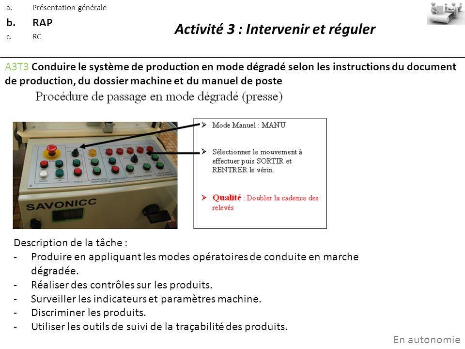 Activité 3 : Intervenir et réguler A3T3 Conduire le système de production en mode dégradé selon les instructions du document de production, du dossier