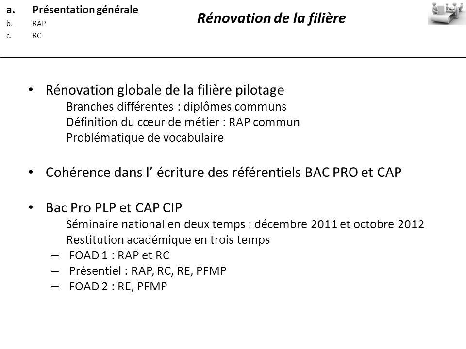 Rénovation globale de la filière pilotage Branches différentes : diplômes communs Définition du cœur de métier : RAP commun Problématique de vocabulai