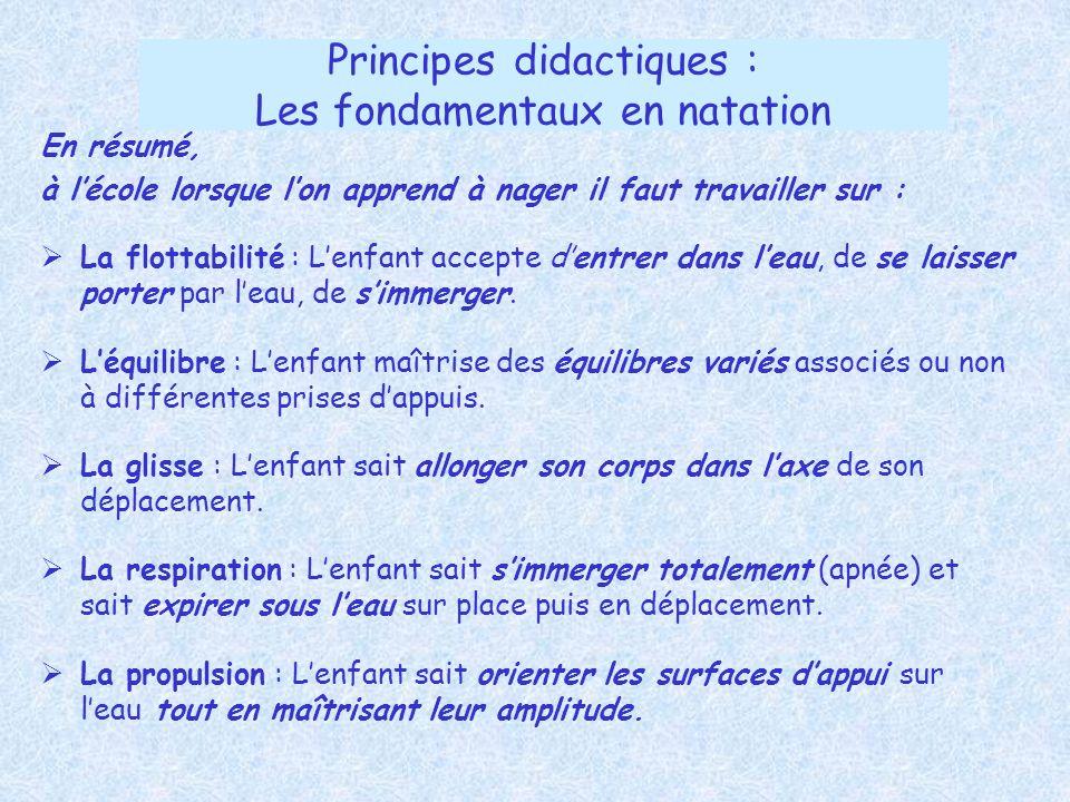 Principes didactiques : Les fondamentaux en natation En résumé, à lécole lorsque lon apprend à nager il faut travailler sur : La flottabilité : Lenfan
