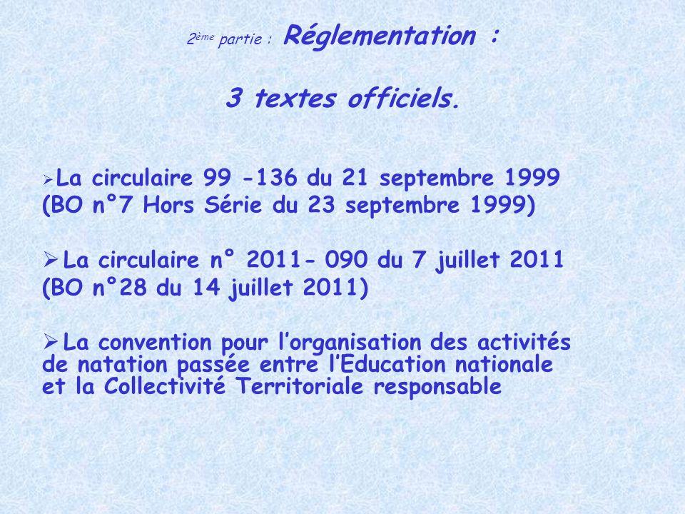 2 ème partie : Réglementation : 3 textes officiels. La circulaire 99 -136 du 21 septembre 1999 (BO n°7 Hors Série du 23 septembre 1999) La circulaire