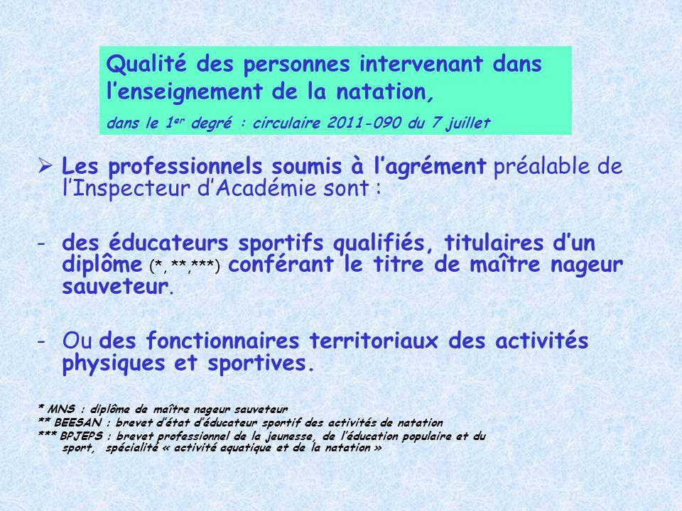 Les professionnels soumis à lagrément préalable de lInspecteur dAcadémie sont : -des éducateurs sportifs qualifiés, titulaires dun diplôme (*, **,***)