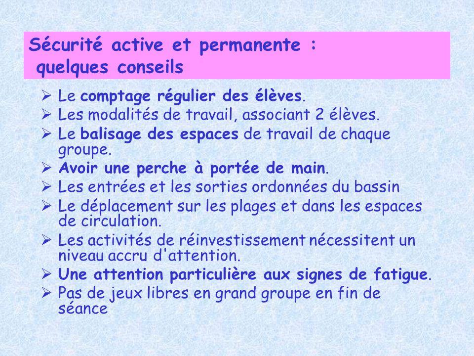 Sécurité active et permanente : quelques conseils Le comptage régulier des élèves. Les modalités de travail, associant 2 élèves. Le balisage des espac