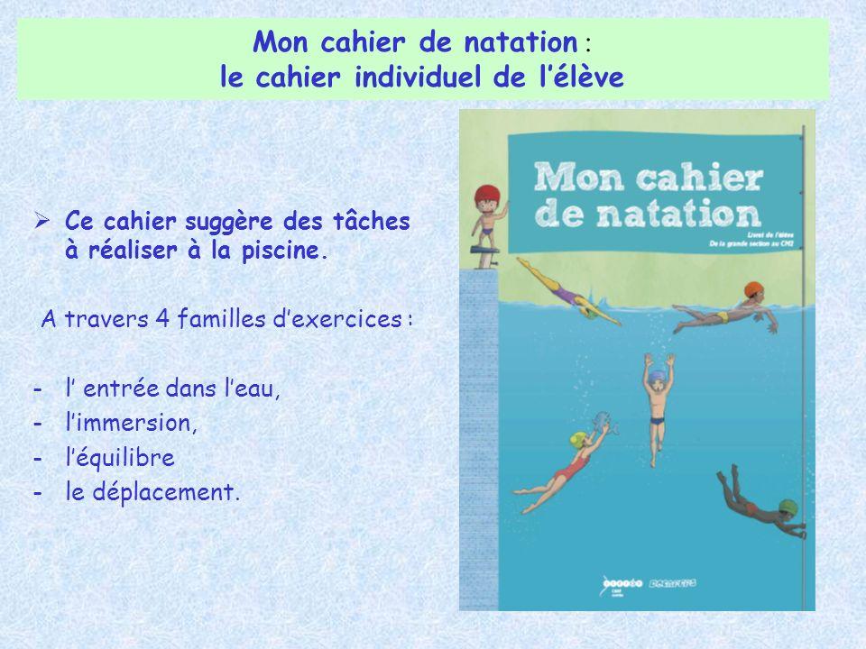 Ce cahier suggère des tâches à réaliser à la piscine. A travers 4 familles dexercices : -l entrée dans leau, -limmersion, -léquilibre -le déplacement.