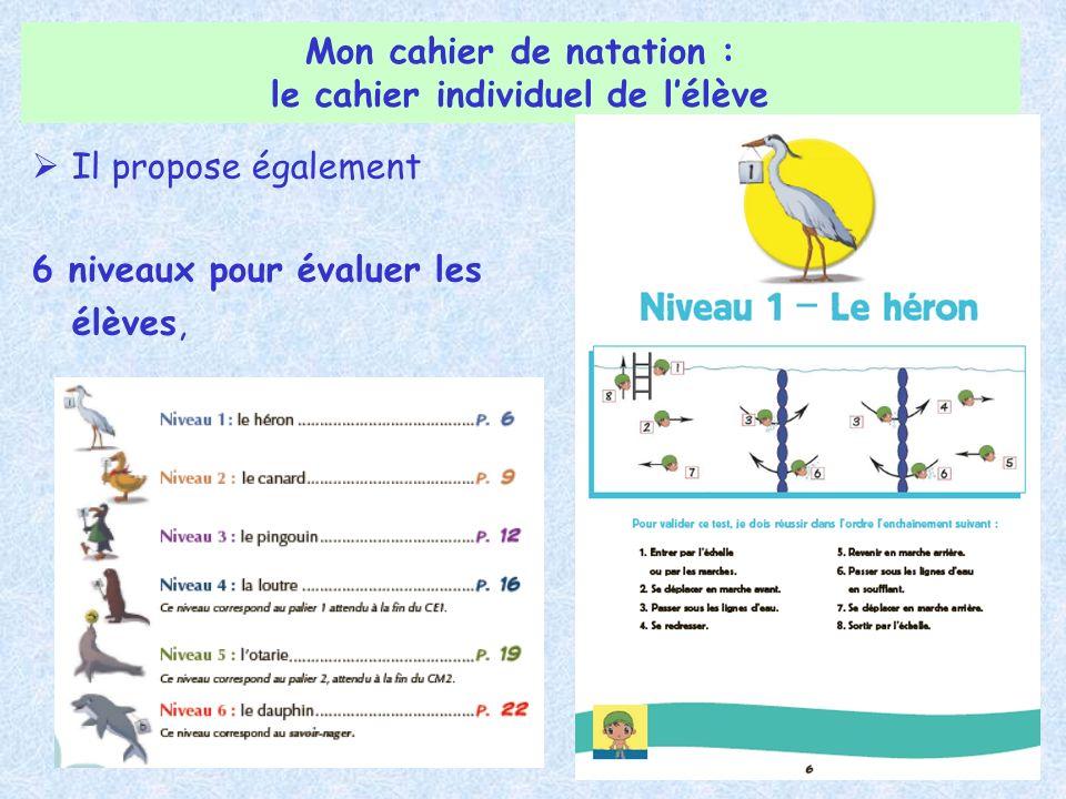 Il propose également 6 niveaux pour évaluer les élèves, Mon cahier de natation : le cahier individuel de lélève