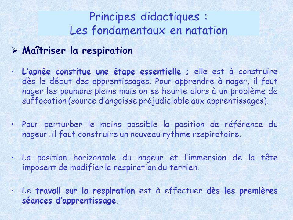 Principes didactiques : Les fondamentaux en natation Maîtriser la respiration Lapnée constitue une étape essentielle ; elle est à construire dès le dé