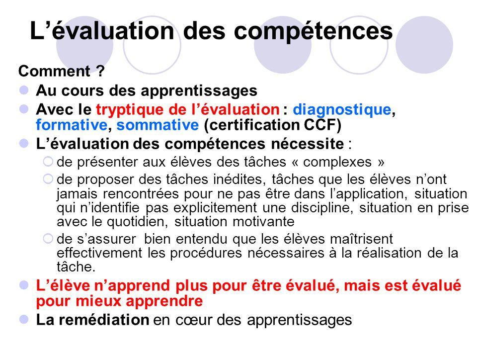 Lévaluation des compétences Comment ? Au cours des apprentissages Avec le tryptique de lévaluation : diagnostique, formative, sommative (certification