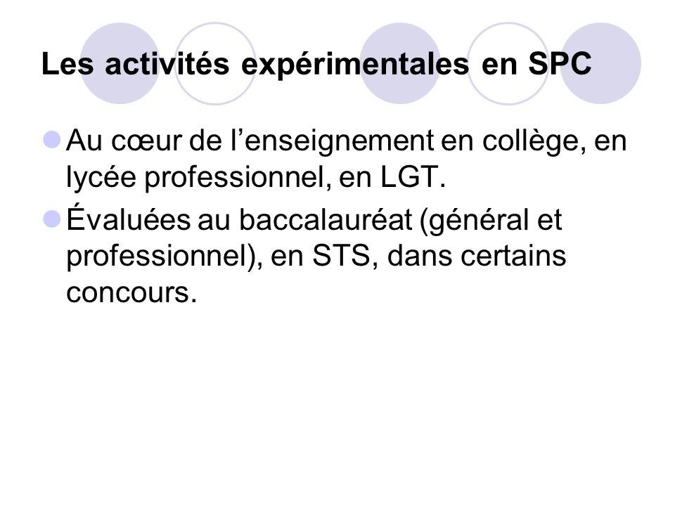 Les activités expérimentales en SPC Au cœur de lenseignement en collège, en lycée professionnel, en LGT. Évaluées au baccalauréat (général et professi