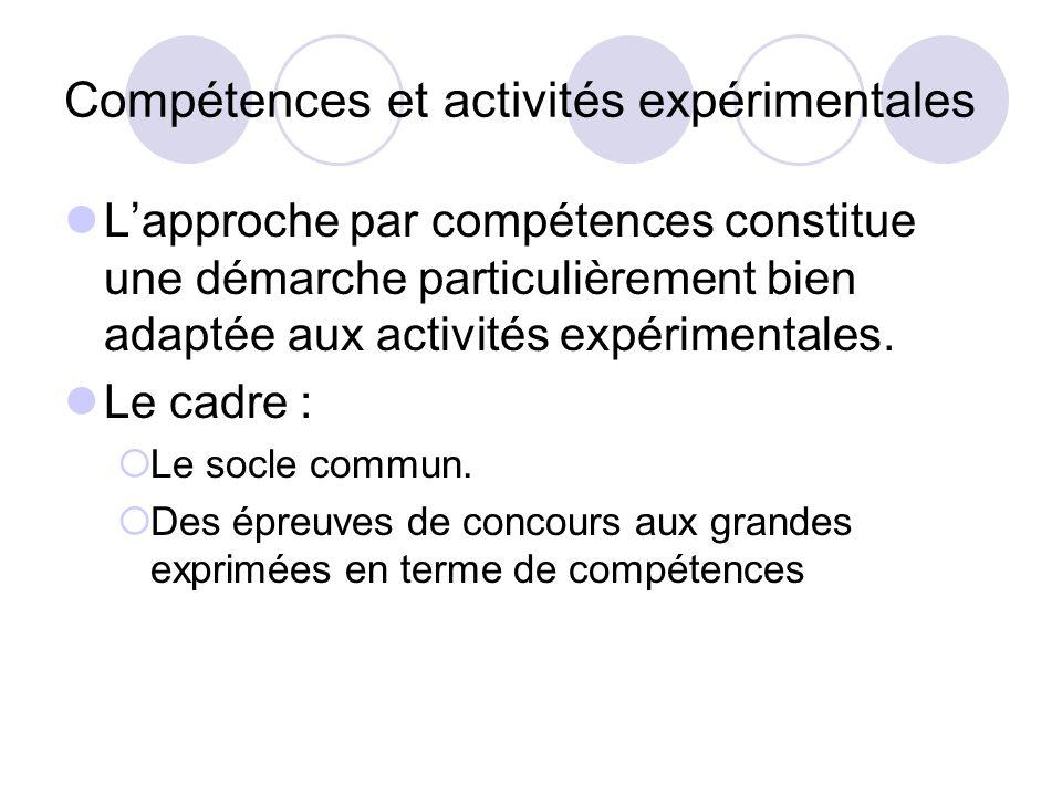 Compétences et activités expérimentales Lapproche par compétences constitue une démarche particulièrement bien adaptée aux activités expérimentales. L