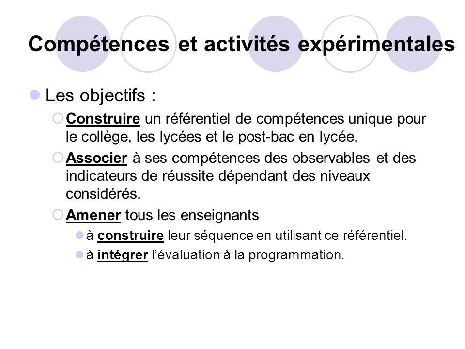 Compétences et activités expérimentales Les objectifs : Construire un référentiel de compétences unique pour le collège, les lycées et le post-bac en