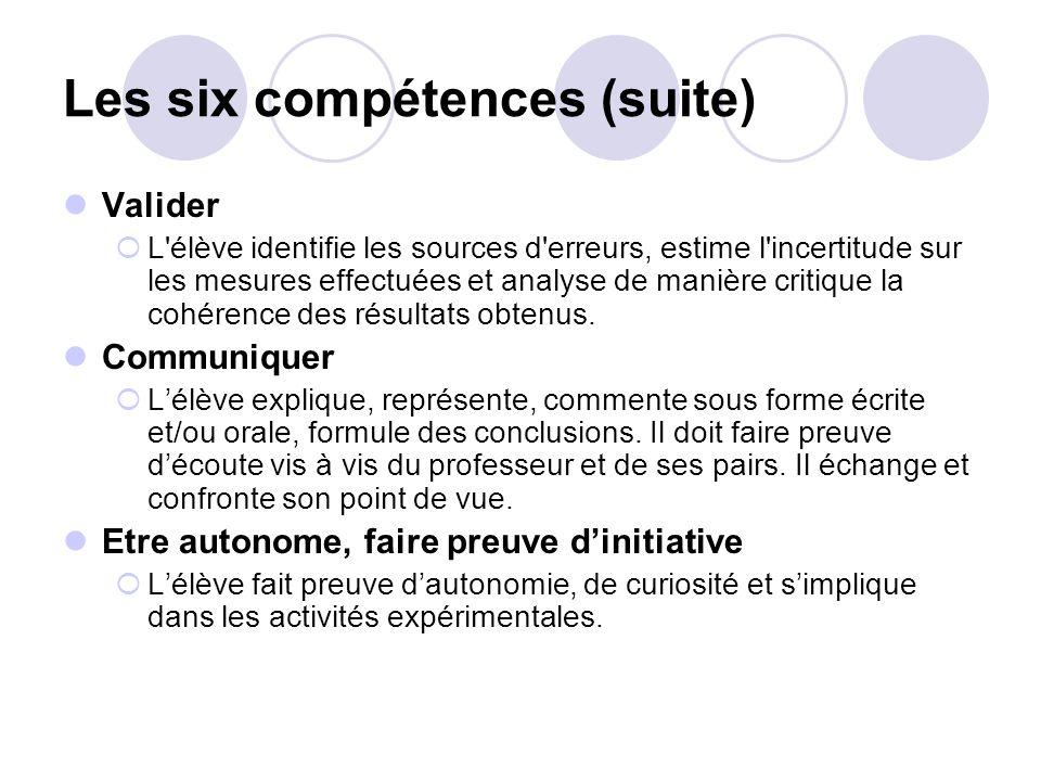 Les six compétences (suite) Valider L'élève identifie les sources d'erreurs, estime l'incertitude sur les mesures effectuées et analyse de manière cri