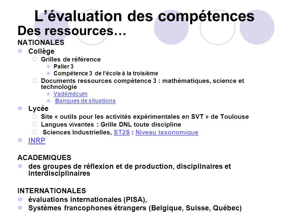 Lévaluation des compétences Des ressources… NATIONALES Collège Grilles de référence Palier 3 Compétence 3 de lécole à la troisième Documents ressource