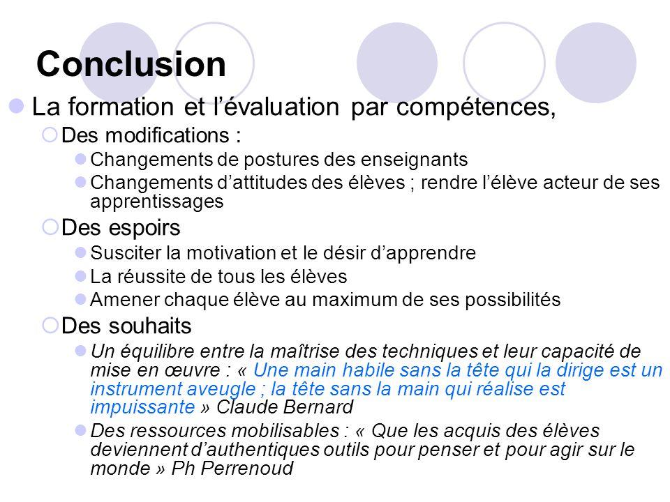 Conclusion La formation et lévaluation par compétences, Des modifications : Changements de postures des enseignants Changements dattitudes des élèves