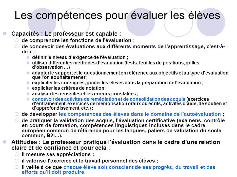 Les compétences pour évaluer les élèves Capacités : Le professeur est capable : de comprendre les fonctions de l'évaluation ; de concevoir des évaluat