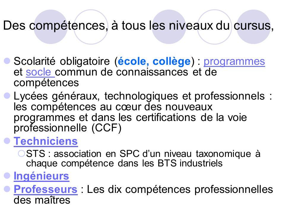 Des compétences, à tous les niveaux du cursus, Scolarité obligatoire (école, collège) : programmes et socle commun de connaissances et de compétencesp