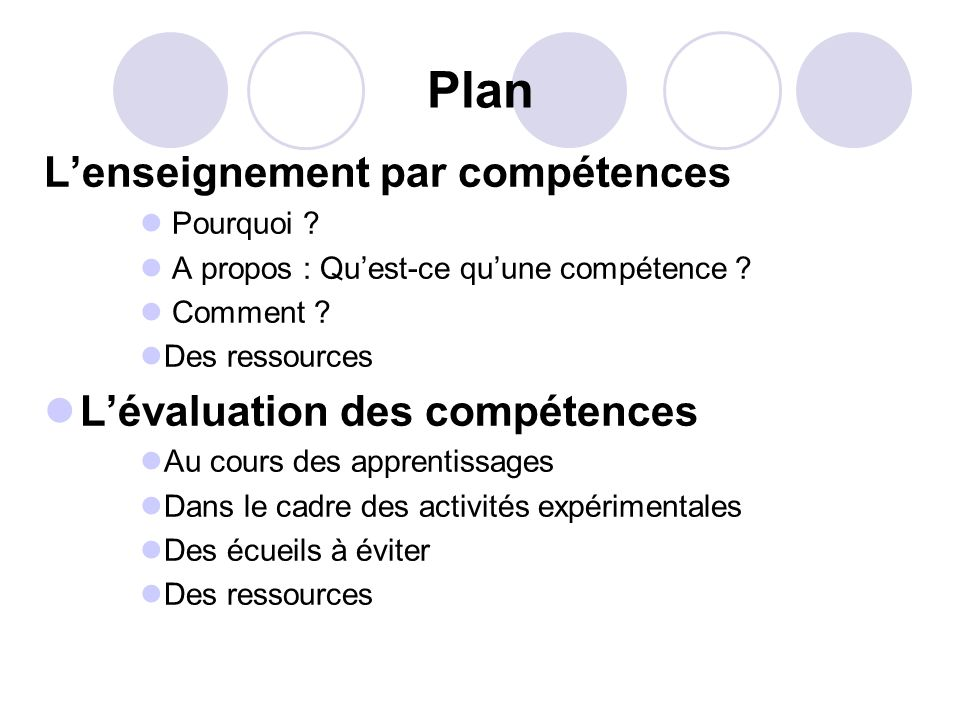 Plan Lenseignement par compétences Pourquoi ? A propos : Quest-ce quune compétence ? Comment ? Des ressources Lévaluation des compétences Au cours des