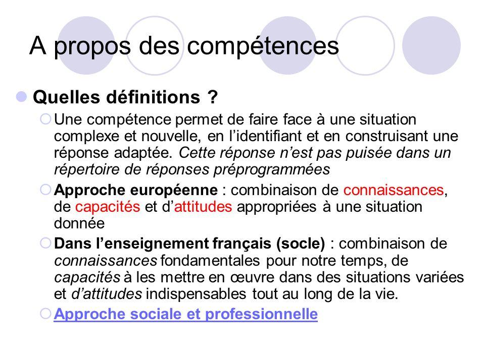 A propos des compétences Quelles définitions ? Une compétence permet de faire face à une situation complexe et nouvelle, en lidentifiant et en constru