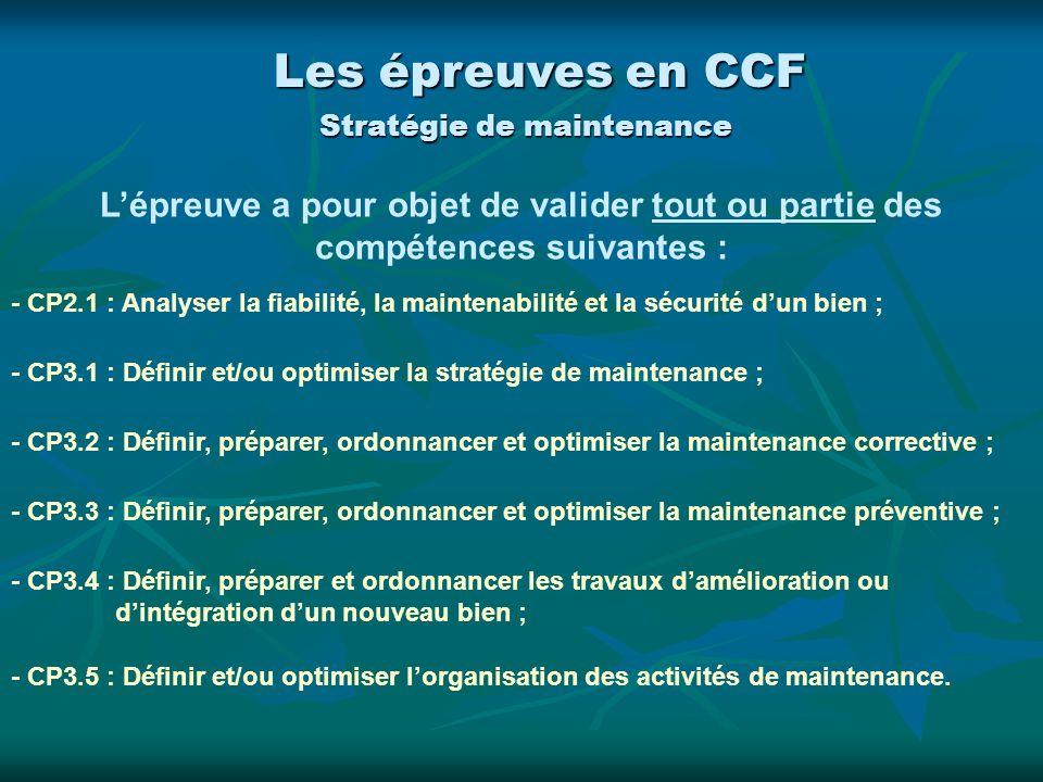 - CP2.1 : Analyser la fiabilité, la maintenabilité et la sécurité dun bien ; - CP3.1 : Définir et/ou optimiser la stratégie de maintenance ; - CP3.2 :