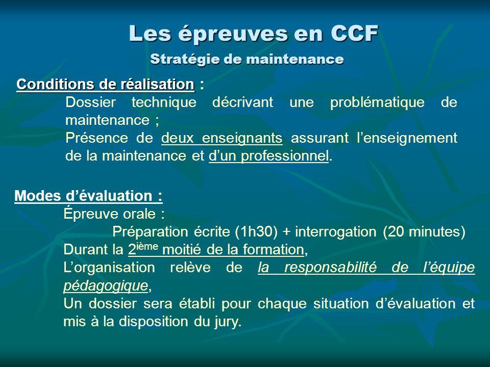 Conditions de réalisation Conditions de réalisation : Dossier technique décrivant une problématique de maintenance ; Présence de deux enseignants assu