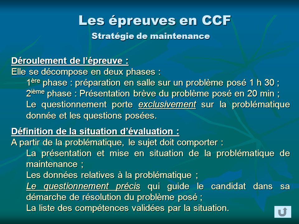 Les épreuves en CCF Stratégie de maintenance Déroulement de lépreuve : Elle se décompose en deux phases : 1 ère phase : préparation en salle sur un pr