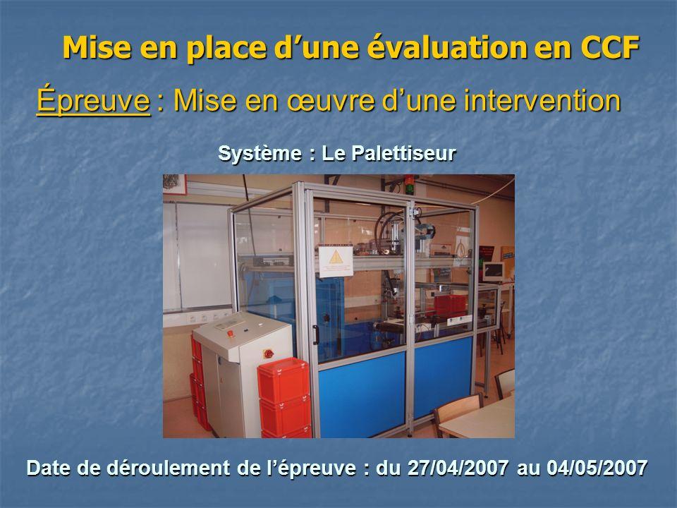Mise en place dune évaluation en CCF Épreuve : Mise en œuvre dune intervention Système : Le Palettiseur Date de déroulement de lépreuve : du 27/04/200
