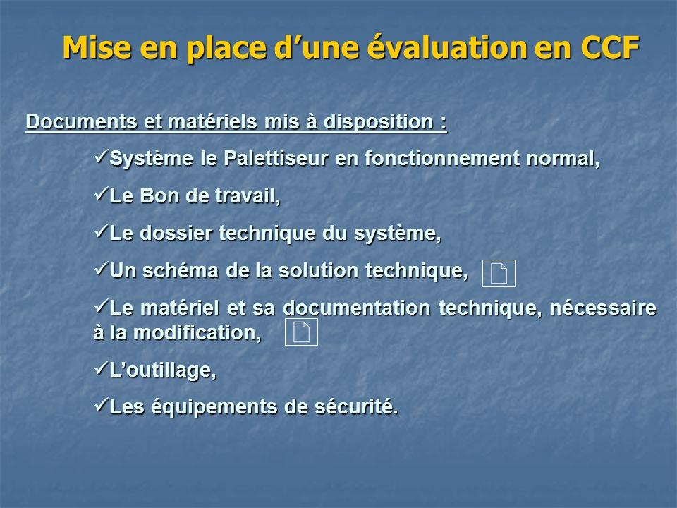 Mise en place dune évaluation en CCF Documents et matériels mis à disposition : Système le Palettiseur en fonctionnement normal, Système le Palettiseu