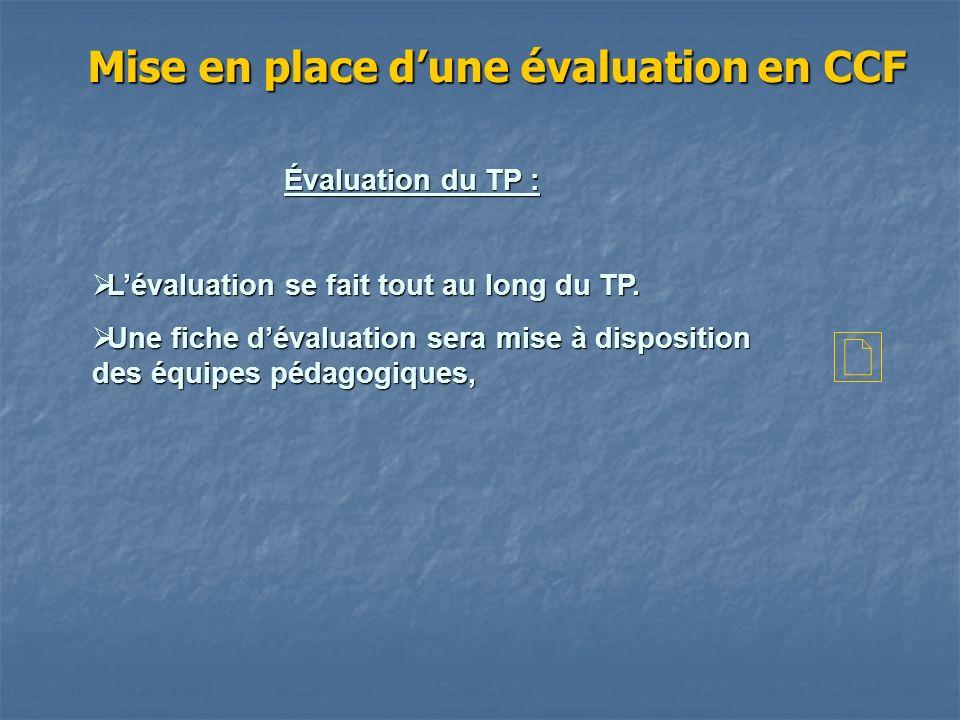 Mise en place dune évaluation en CCF Évaluation du TP : Lévaluation se fait tout au long du TP. Lévaluation se fait tout au long du TP. Une fiche déva