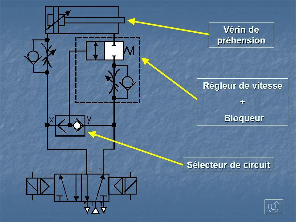 Régleur de vitesse + Bloqueur Bloqueur Sélecteur de circuit Vérin de préhension