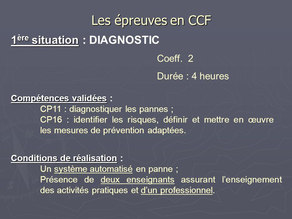 1 ère situation 1 ère situation : DIAGNOSTIC Coeff. 2 Durée : 4 heures Les épreuves en CCF Compétences validées Compétences validées : CP11 : diagnost