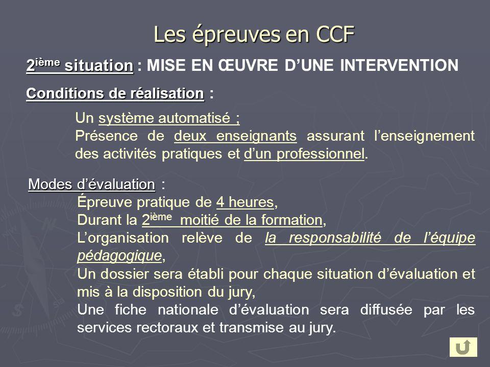2 ième situation 2 ième situation : MISE EN ŒUVRE DUNE INTERVENTION Conditions de réalisation Conditions de réalisation : Un système automatisé ; Prés