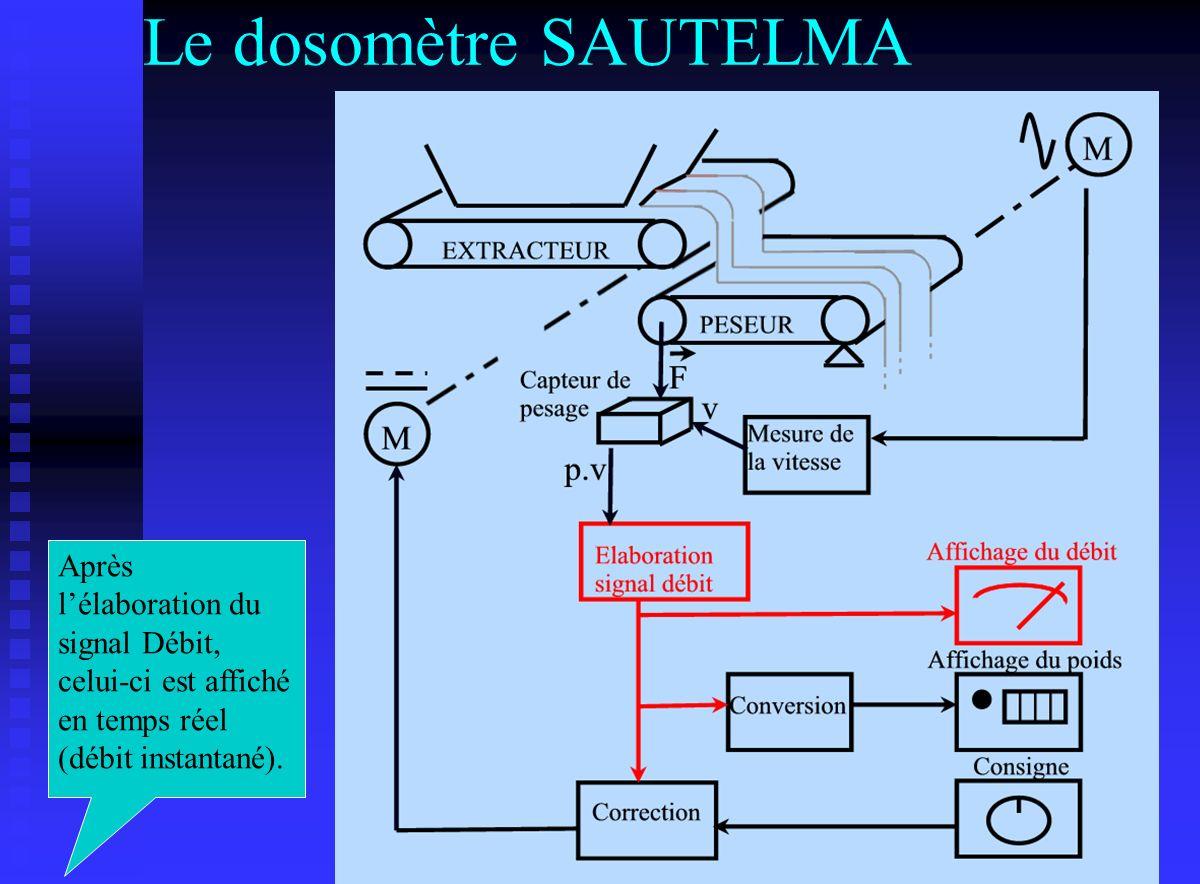 Le dosomètre SAUTELMA Après lélaboration du signal Débit, celui-ci est affiché en temps réel (débit instantané).