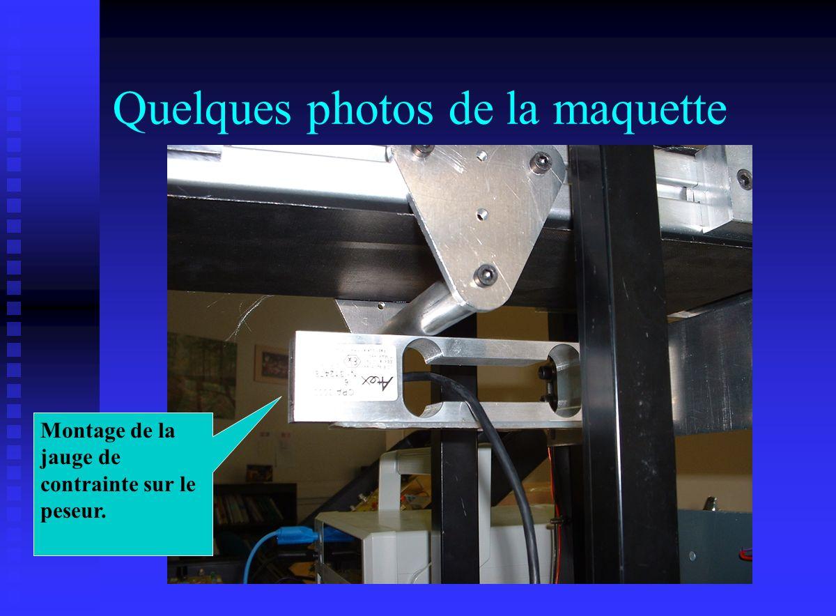 Quelques photos de la maquette Montage de la jauge de contrainte sur le peseur.