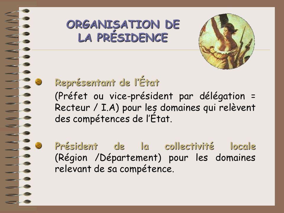 ORGANISATION DE LA PRÉSIDENCE Représentant de lÉtat (Préfet ou vice-président par délégation = Recteur / I.A) pour les domaines qui relèvent des compé