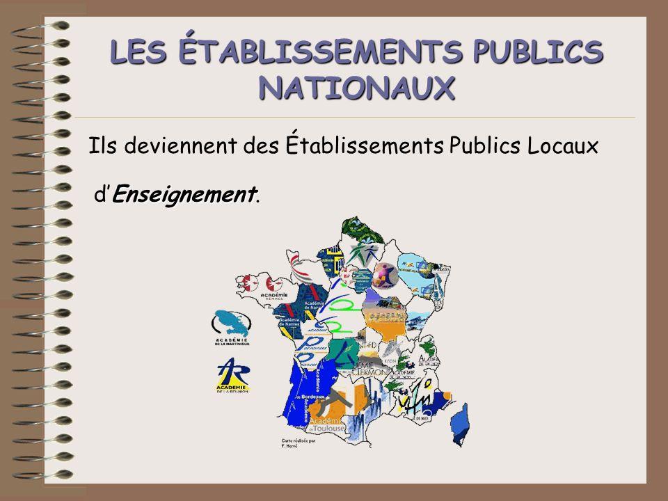 LES ÉTABLISSEMENTS ÉTABLISSEMENTS PUBLICS NATIONAUX Ils deviennent des Établissements Publics Locaux Enseignement dEnseignement.