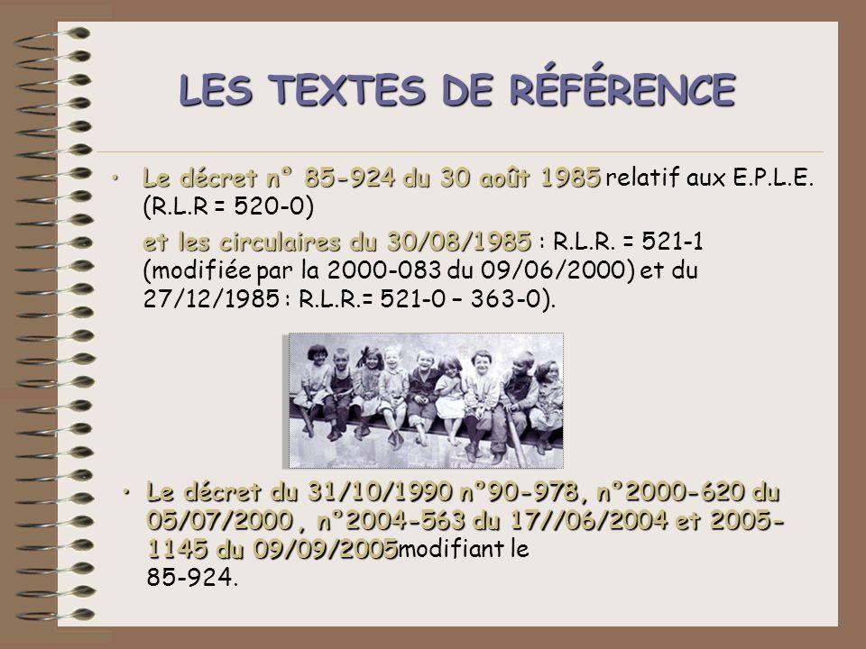 LES TEXTES DE RÉFÉRENCE Le décret n° 85-924 du 30 août 1985Le décret n° 85-924 du 30 août 1985 relatif aux E.P.L.E. (R.L.R = 520-0) et les circulaires