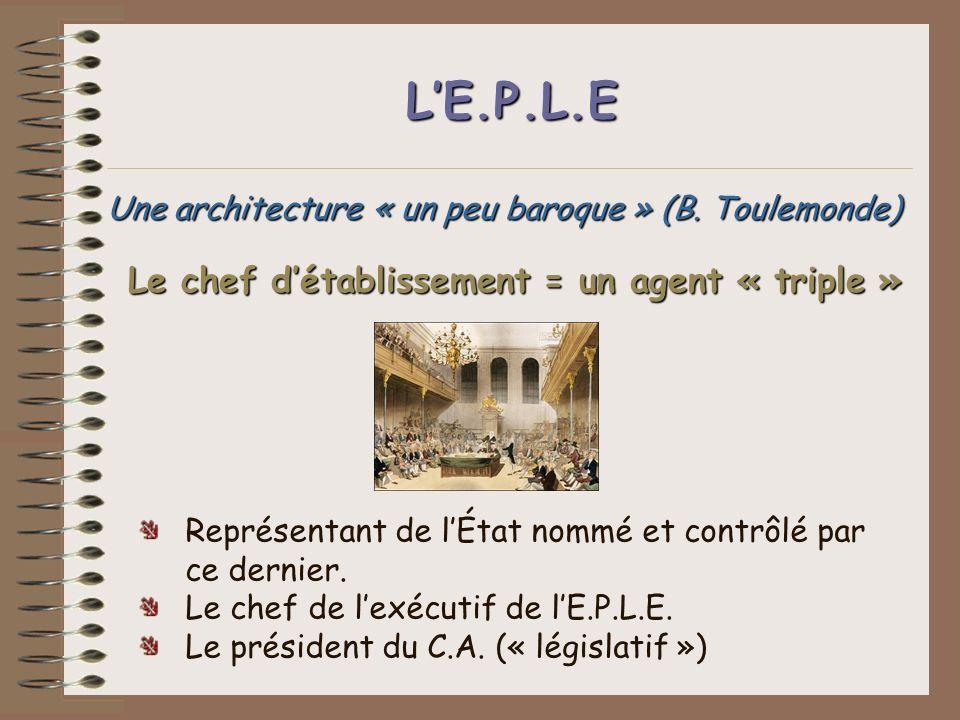 LE.P.L.E Une architecture « un peu baroque » (B. Toulemonde) Représentant de lÉtat nommé et contrôlé par ce dernier. Le chef de lexécutif de lE.P.L.E.